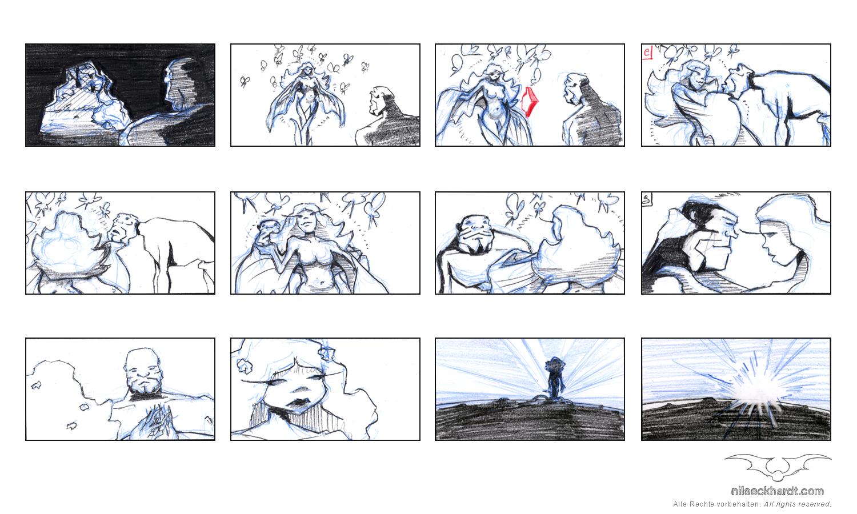 Animationboards Die wilden Felder und der Krieger