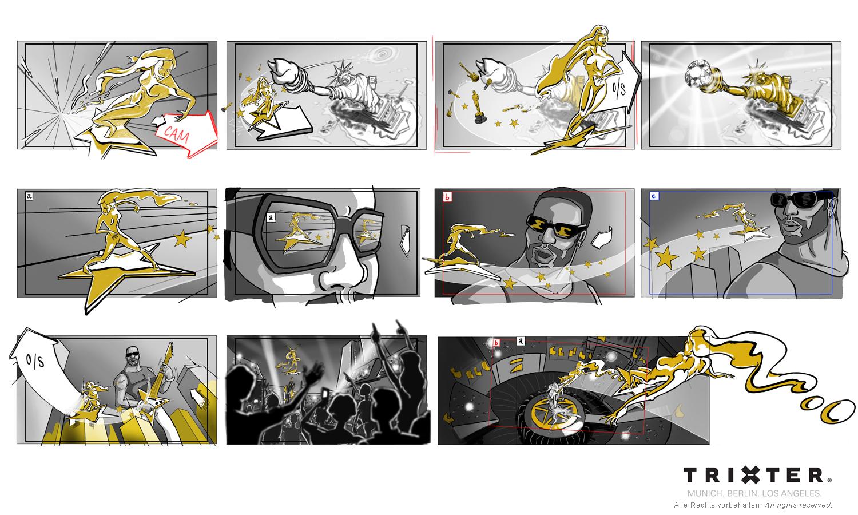 Storyboard München Trixter ProSieben Opener - Annemarie Carpendale und Lenny Kravitz