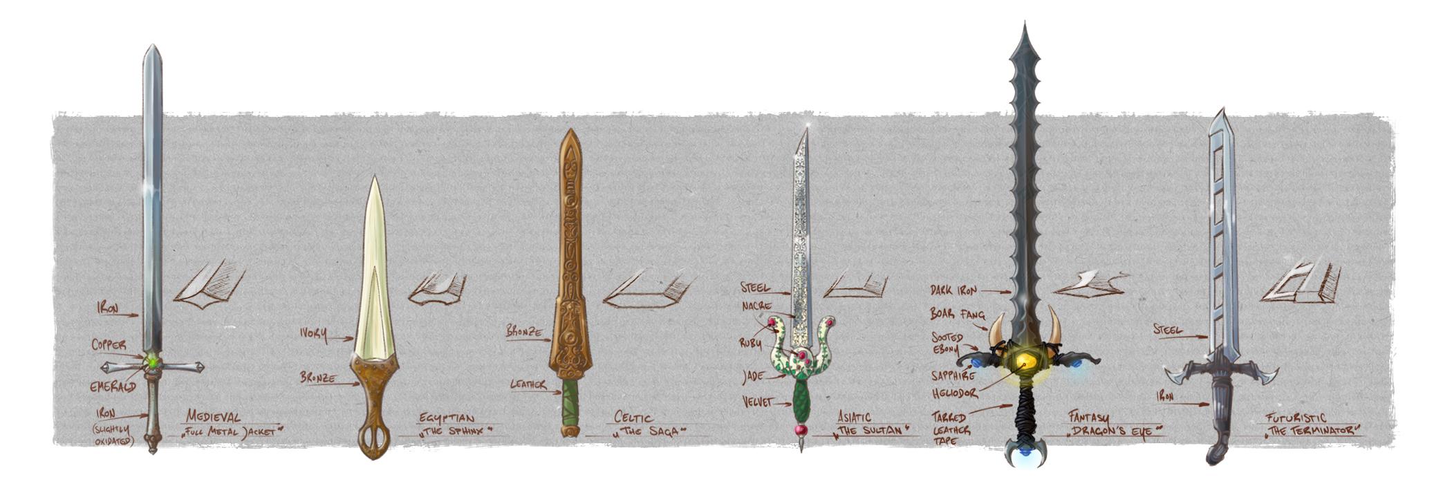 Prop Design of swords for a Dungeon Crawler