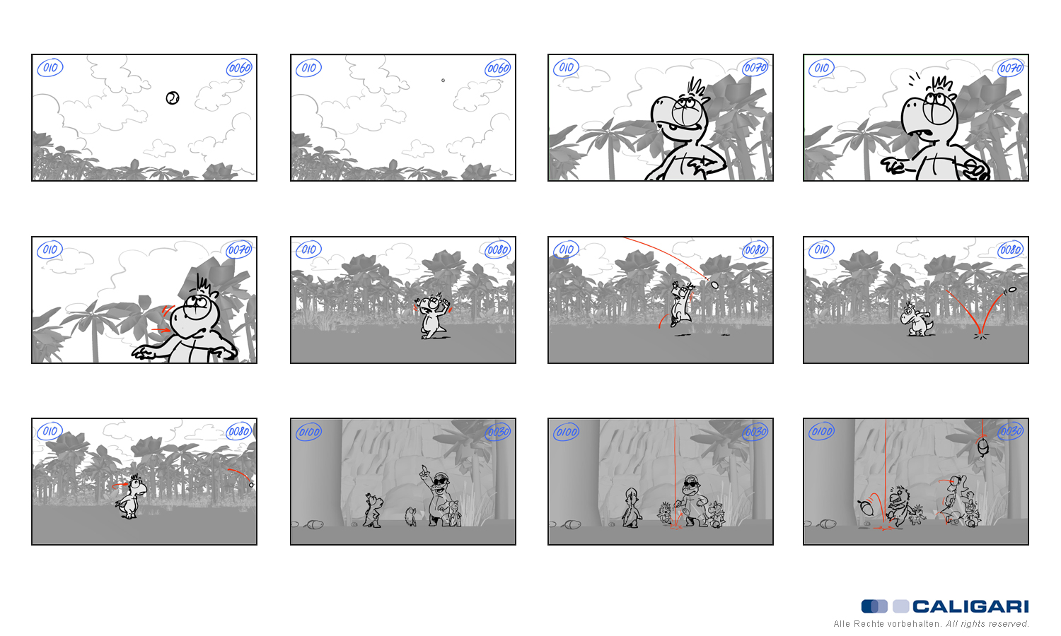 Animationboards Drache Kokosnuss Serie